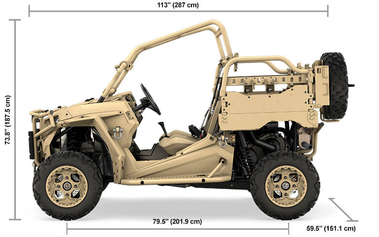 MRZR D2 Overall Vehicle Size (L x W x H) 113 x 59.5 x 73.8 in (287.0 x 151.1 x 187.5 cm )